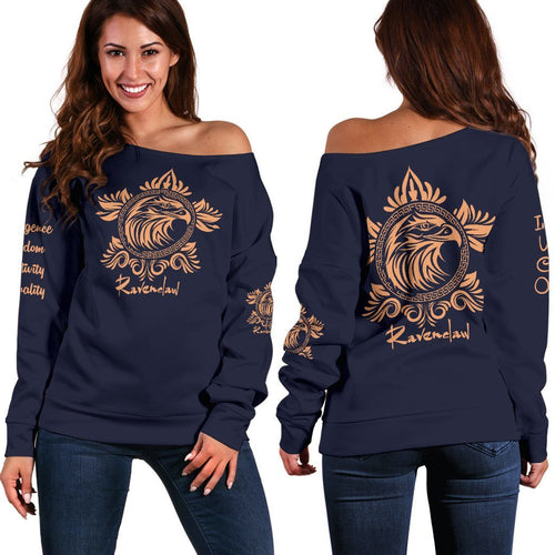 Ravenclaw Women's Off Shoulder Sweater - - Ineffable Shop