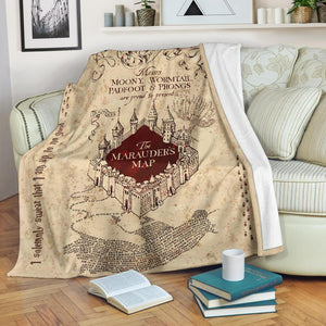 Harry Potter Marauders Map Fleece Blanket - - Ineffable Shop