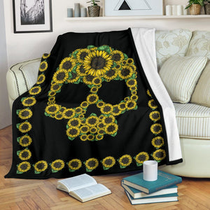 Sunflower Skull Premium Blanket - - Ineffable Shop