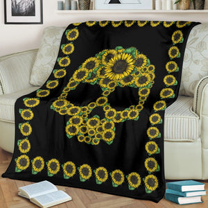 Sunflower Skull Premium Blanket