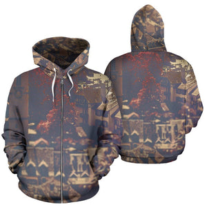 Zip-Up Hoodie Vintage Cityscape - - Ineffable Shop