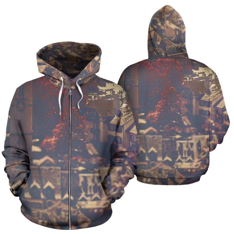 Zip-Up Hoodie Vintage Cityscape - Ineffable Shop