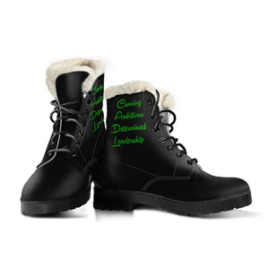 HARRY POTTER Slytherin Faux Fur Leather Boots - - Ineffable Shop