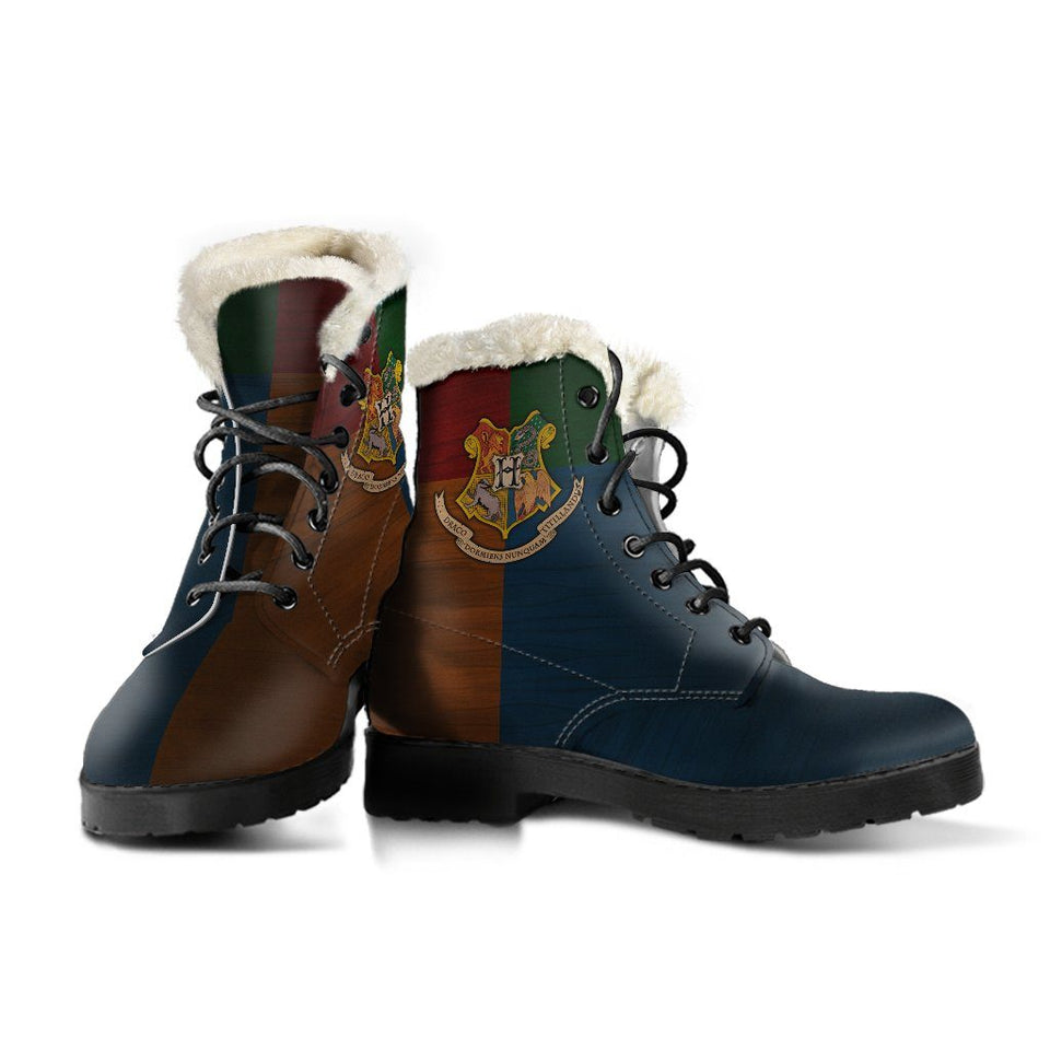 Harry Potter Hogwarts Faux Fur Leather Boots - Ineffable Shop
