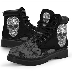Floral Skull Women's Flat Ankle Boots - Ineffable Shop