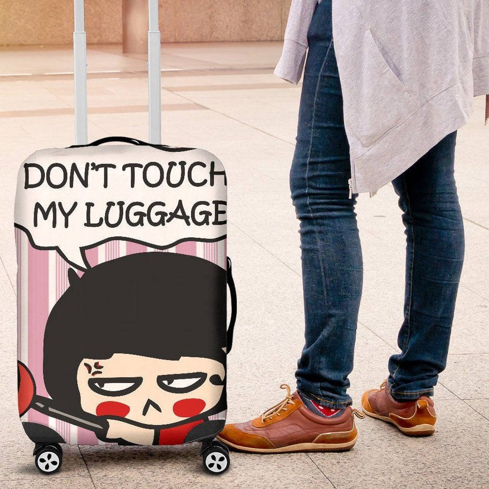 Don't Touch My Luggage Cover Pink
