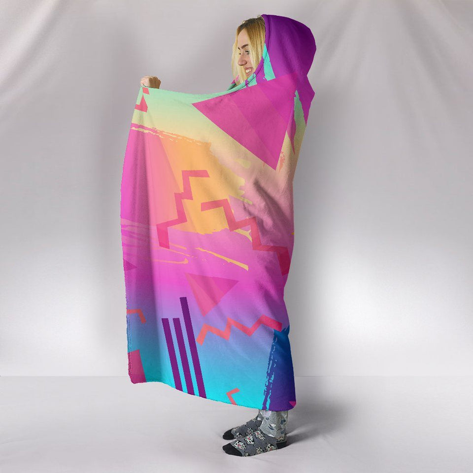 Retro Vintage 80's & 90's Fashion Hooded Blanket - - Ineffable Shop