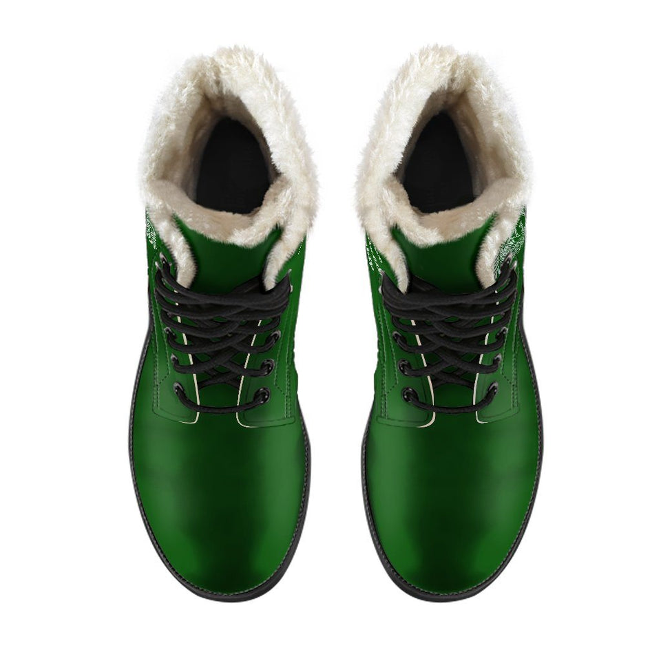 Harry Potter Style Boots - Slytherin Faux Fur Women's Leather Boots - Ineffable Shop