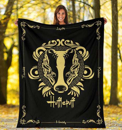 HARRY POTTER Hufflepuff VINTAGE STYLE Fleece BLANKET - - Ineffable Shop