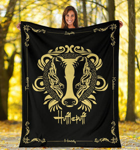 HARRY POTTER Hufflepuff VINTAGE STYLE Fleece BLANKET - Ineffable Shop