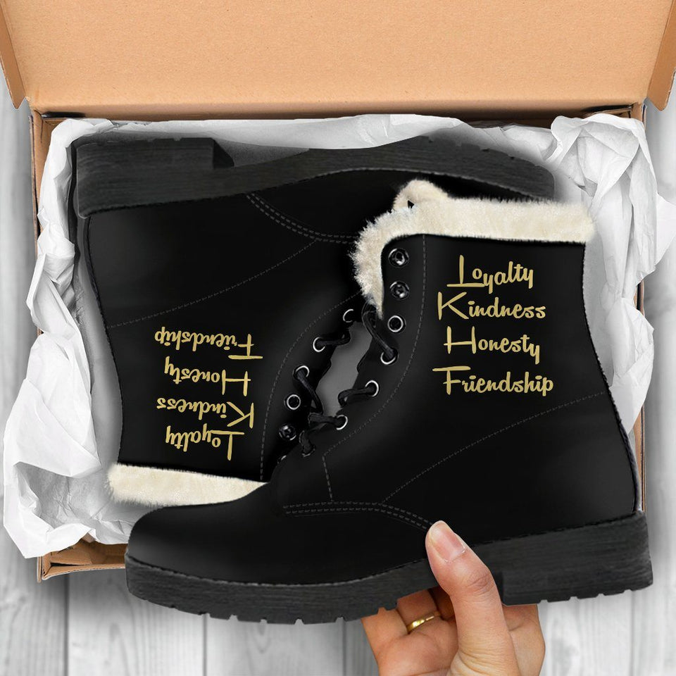 Harry Potter Style Boots - Hufflepuff Faux Fur Leather Boots
