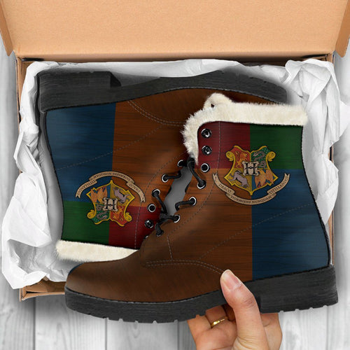 Harry Potter Hogwarts Faux Fur Leather Boots