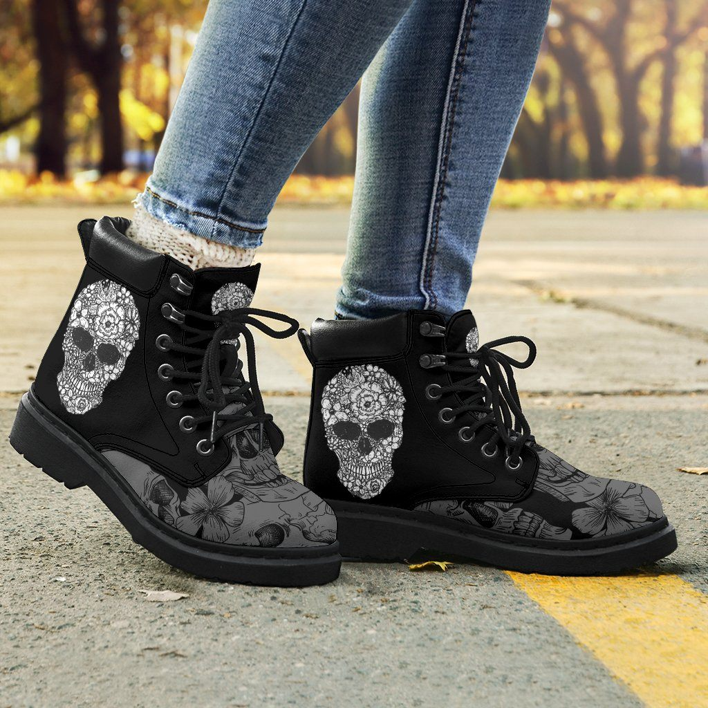 Floral Skull Women's Flat Ankle Boots - - Ineffable Shop