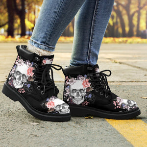 Skull & Flowers Women's Flat Ankle Boots - - Ineffable Shop