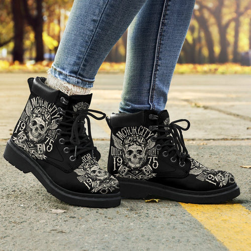 Motorcycle Skull Women's Flat Ankle Boots