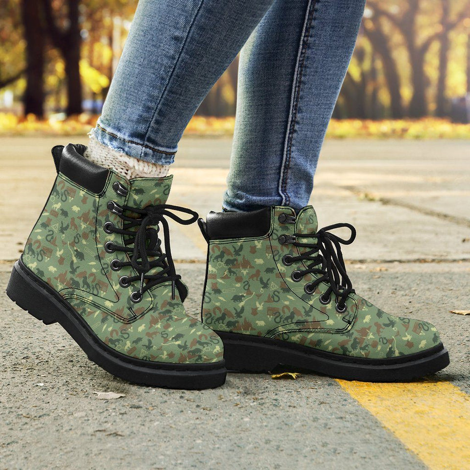 Harry Potter Camouflage Flat Ankle Boots - Ineffable Shop