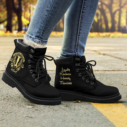 Harry Potter Hufflepuff Women's Flat Ankle Boots - Ineffable Shop