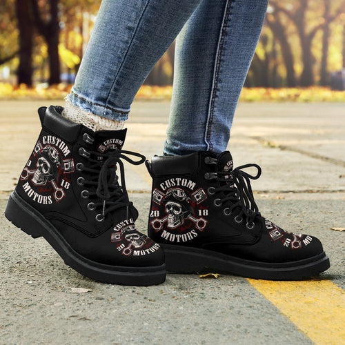 Skull Biker Women's Flat Ankle Boots - - Ineffable Shop