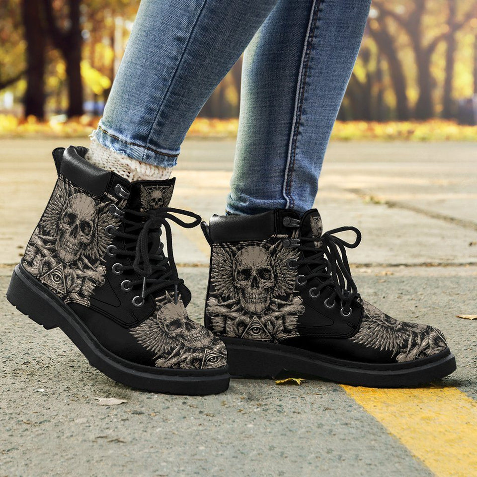 Metal Skull Women's Flat Ankle Boots - - Ineffable Shop