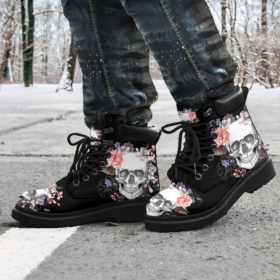 Skull & Flowers Men's Flat Ankle Boots - - Ineffable Shop