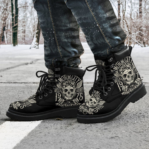 Motorcycle Skull Men's Flat Ankle Boots - - Ineffable Shop
