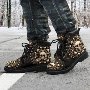 Skulls & Bones Men's Flat Ankle Boots - - Ineffable Shop