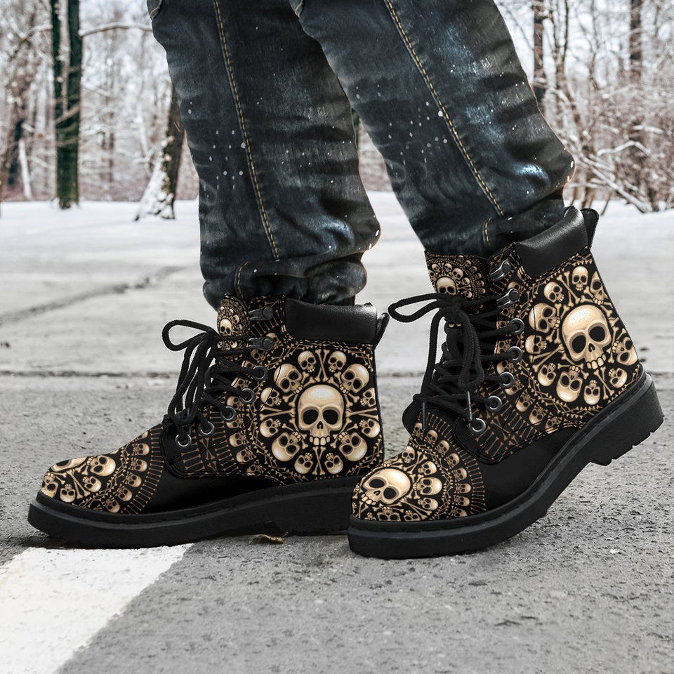 Skulls & Bones Men's Flat Ankle Boots - Ineffable Shop