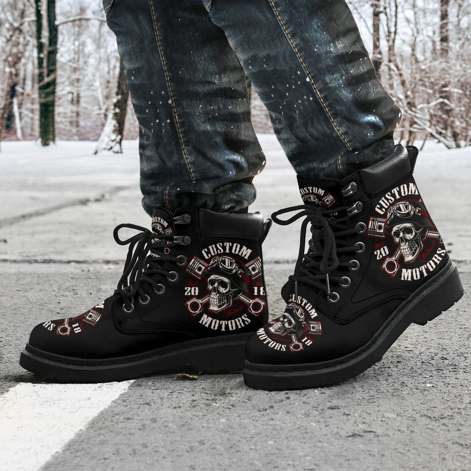 Skull Biker Men's Flat Ankle Boots - Ineffable Shop