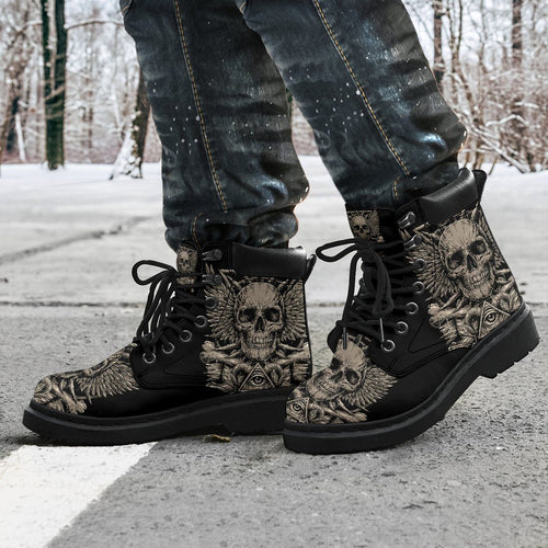 Metal Skull Men's Flat Ankle Boots