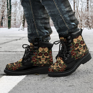 Skull & Gun Men's Flat Ankle Boots - - Ineffable Shop