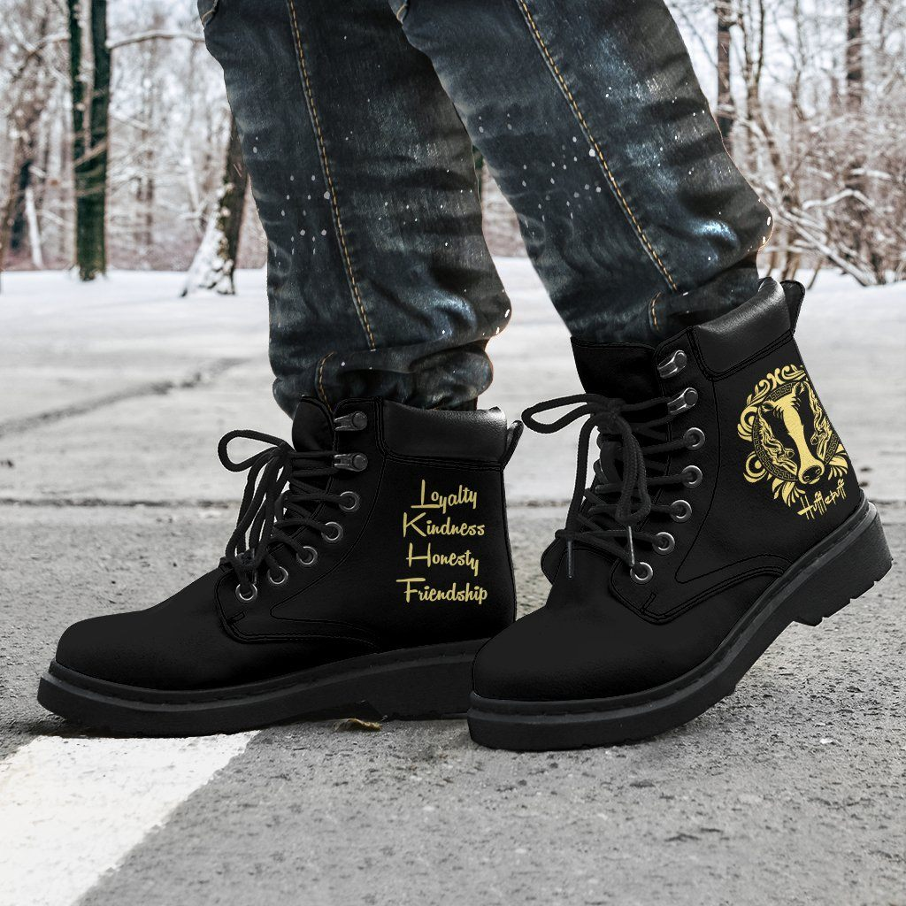 Harry Potter Hufflepuff Men's Flat Ankle Boots - - Ineffable Shop