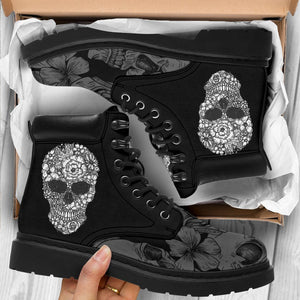 Floral Skull Men's Flat Ankle Boots - - Ineffable Shop