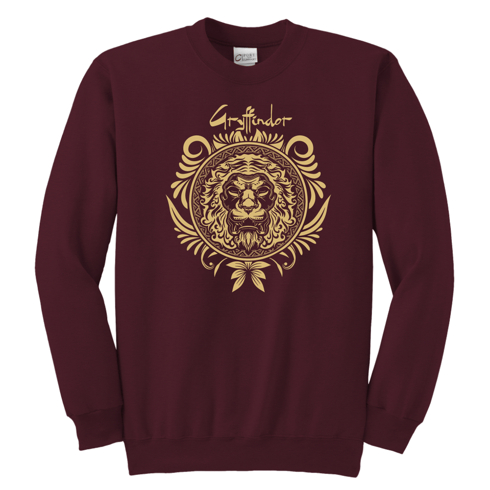 Harry Potter Vintage Gryffindor Badge Youth Crewneck Sweatshirt - Youth Crewneck Sweatshirt / Maroon / XS - Ineffable Shop