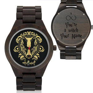 Custom Name - Hufflepuff Wood Watches - HCW0002 - Ineffable Shop
