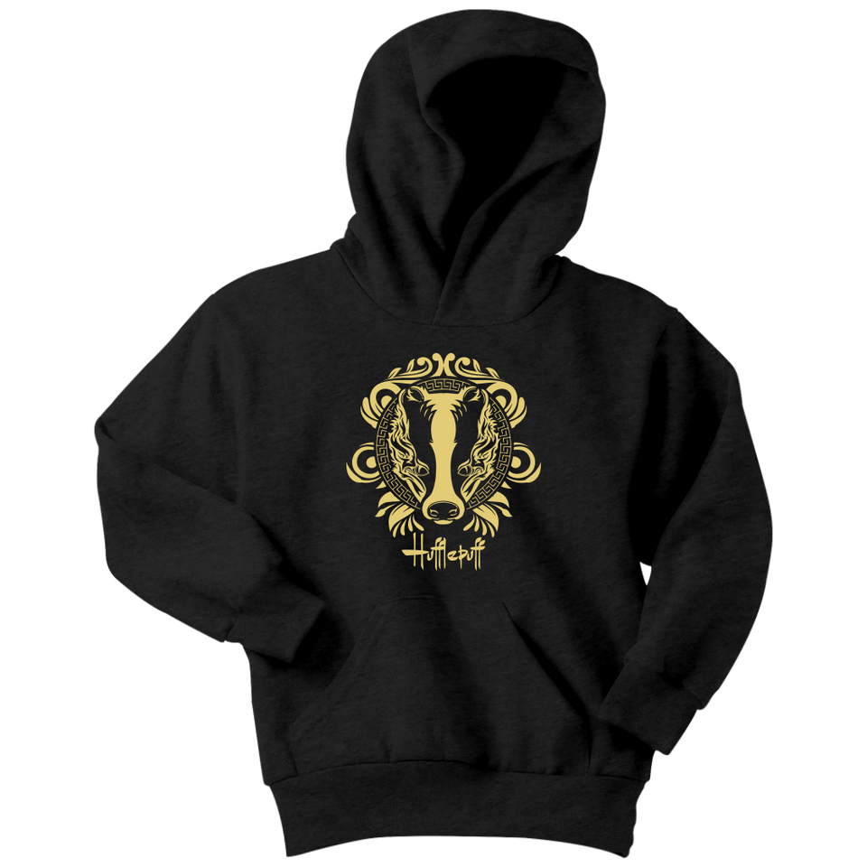 Harry Potter Vintage Hufflepuff Youth Hoodie - Youth Hoodie / Black / XS - Ineffable Shop