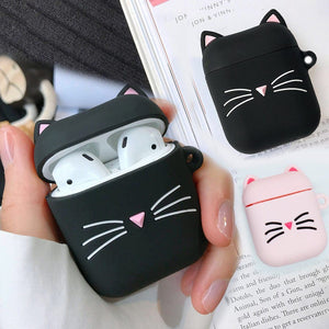 3D CAT Shockproof Protective Premium Silicone Cover Skin for AirPods Charging Case 2 - Ineffable Shop