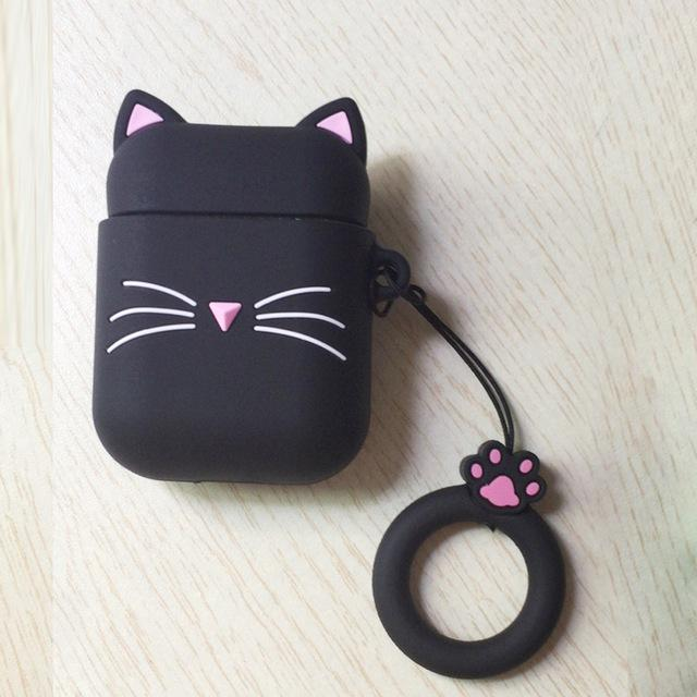 3D CAT Shockproof Protective Premium Silicone Cover Skin for AirPods Charging Case 2 - Black Beard Cat 2 - Ineffable Shop