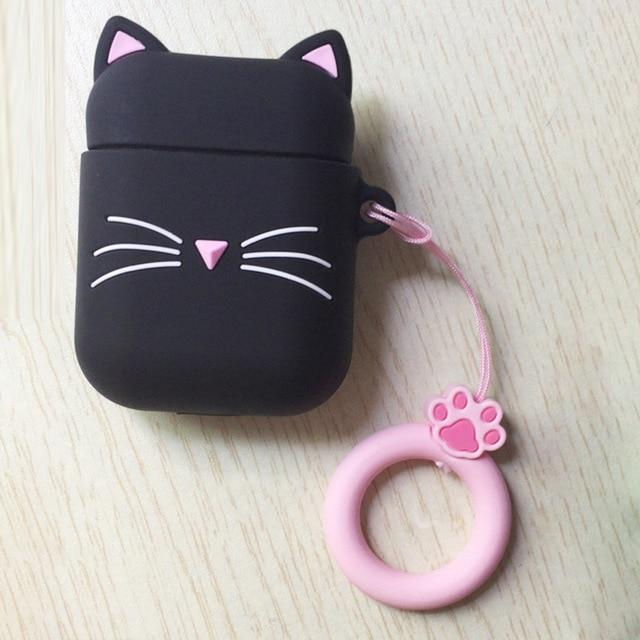3D CAT Shockproof Protective Premium Silicone Cover Skin for AirPods Charging Case 2 - Black Beard Cat 1 - Ineffable Shop