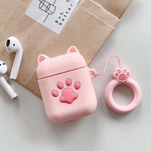 3D CAT Shockproof Protective Premium Silicone Cover Skin for AirPods Charging Case 2 - Cat Paw - Ineffable Shop