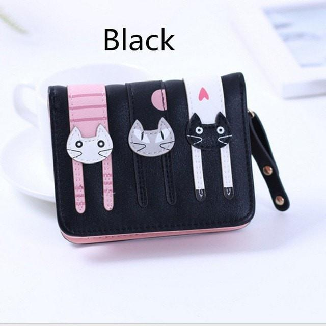 2017 New Cute Girl Leather Cat Wallet - 01 Black - Ineffable Shop
