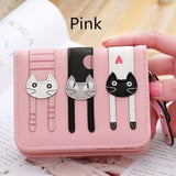 2017 New Cute Girl Leather Cat Wallet - 02 Pink - Ineffable Shop