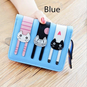 2017 New Cute Girl Leather Cat Wallet - 03 Blue - Ineffable Shop