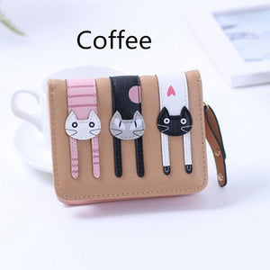2017 New Cute Girl Leather Cat Wallet - 04 Coffee - Ineffable Shop