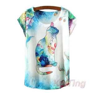 2017 New Fashion Vintage T-shirt - Meow T-shirt - 3 / One Size - Ineffable Shop