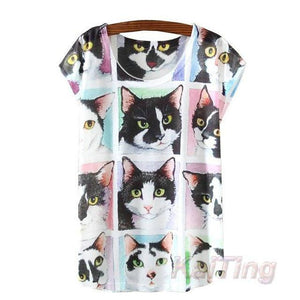 2017 New Fashion Vintage T-shirt - Meow T-shirt - 4 / One Size - Ineffable Shop