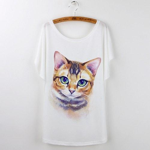 Best Quality Harajuku Cat T-Shirts Women 2017 - White 529 / S - Ineffable Shop