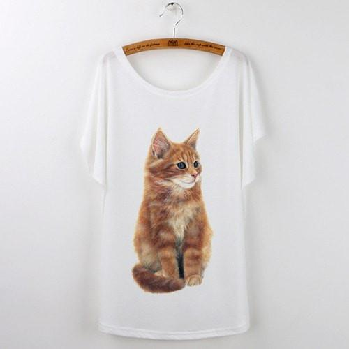 Best Quality Harajuku Cat T-Shirts Women 2017 - White 520 / S - Ineffable Shop