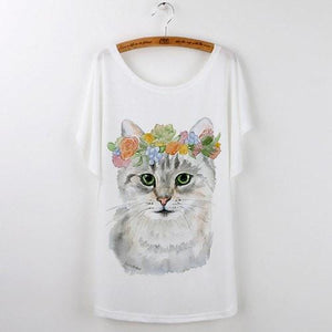 Best Quality Harajuku Cat T-Shirts Women 2017 - White 525 / S - Ineffable Shop