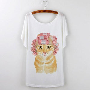 Best Quality Harajuku Cat T-Shirts Women 2017 - White 503 / S - Ineffable Shop