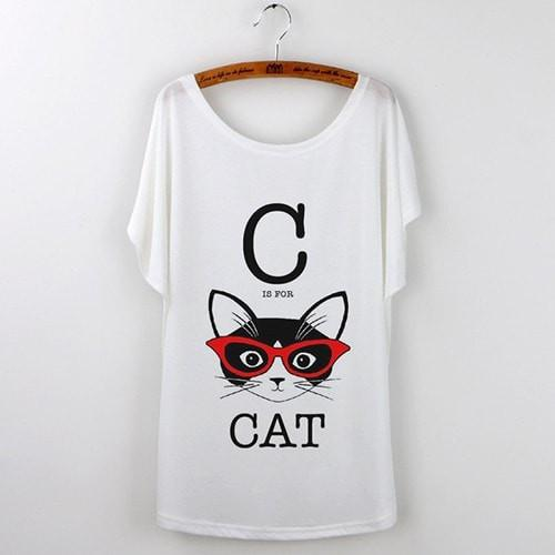 Best Quality Harajuku Cat T-Shirts Women 2017 - White 508 / S - Ineffable Shop